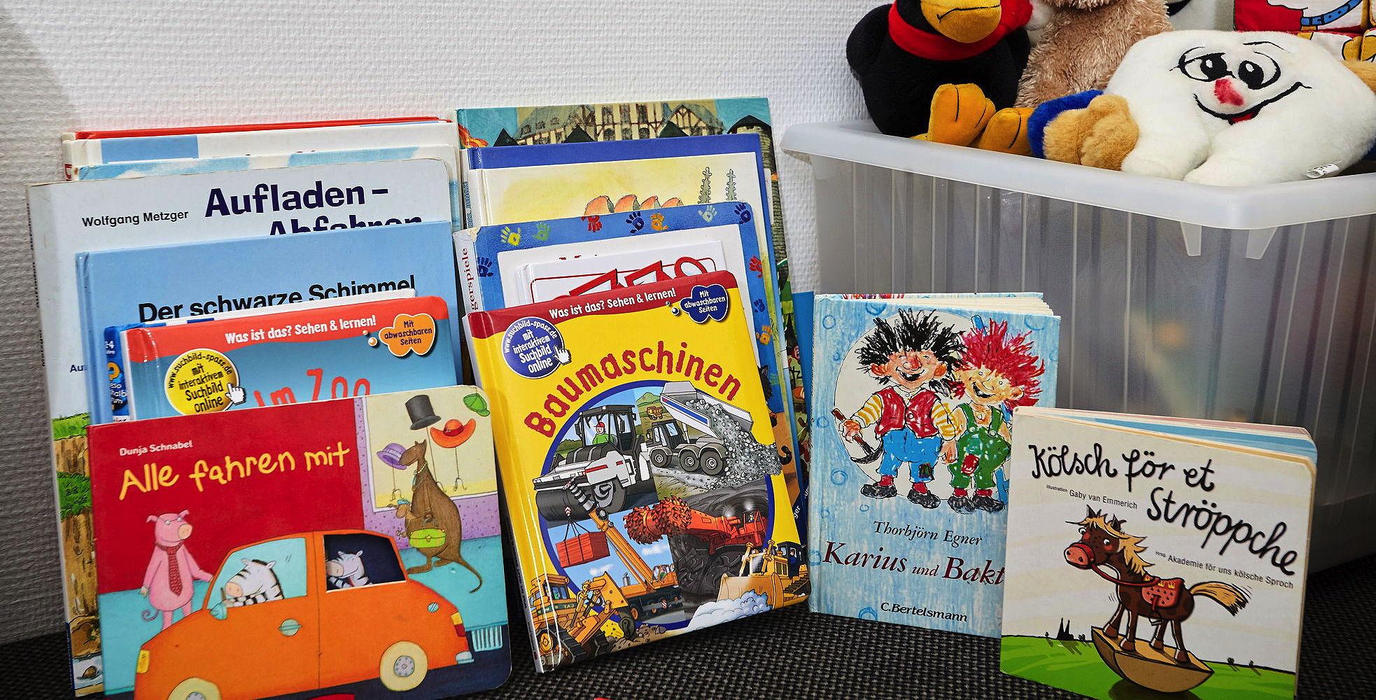Bücher und Stofftiere in der Spielecke für Kinder der Zahnarztpraxis Julia Ehrlich in Köln Braunsfeld